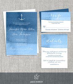 Nautical Wedding Invitation Set DIY // Ombre Navy Watercolor Printable Wedding Suite PDF ▷ Invite + RSVP Card + Enclosure Card by JadeForestDesign on Etsy https://www.etsy.com/listing/221076863/nautical-wedding-invitation-set-diy