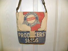 Vintage Producers seed sack upcycled mid size by LoriesBags