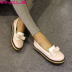 The new spring and summer pastoral wind shallow mouth flat bow shoes casual shoes