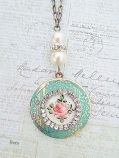 Verdigris Vintage Locket Necklace Vintage by hangingbyathread1