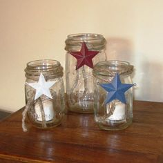 3 Mason Jar Candle Holders with Patriotic Metal by ItsInviting, $29.99
