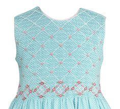 Anavini Girls Susan Sleeveless Dress Aqua Gingham Smocked