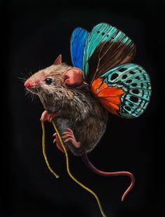 Des peintures de souris avec des ailes de papillon par Lisa Ericson  Dessein de…