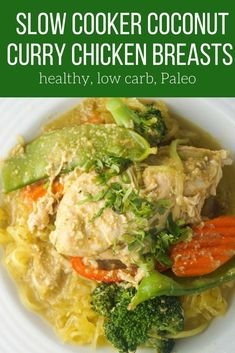 This six ingredient crockpot Thai chicken curry couldn't be easier to make and is packed with flavor. Serve it with rice, spaghetti squash, and rice noodles for an easy meal. #dinner #freezerfriendly #makeahead