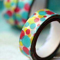 "Masking tape (washi tape) multicolore ""bulles"" 15mm x 10m"