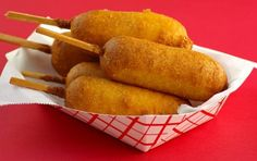 Make your own Corndogs !!! Mix up a thick cornbread batter and deep-fry on a stick-YUM !
