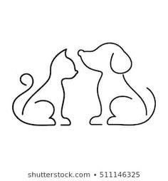Vetor stock de Preto vector gato e cão ícones (livre de direitos) 511146325 Dog Line Drawing, Dog Line Art, Animal Line Drawings, Outline Drawings, Cat Drawing, Art Drawings Sketches, Outline Images, Easy Drawings, Doodle Drawings