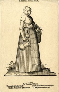 Plate 166: A Hungarian peasant woman; whole-length figure in profile to right; wearing a pleated skirt and a plain blouse with a headscarf; carrying a basket and a pitcher; illustration to Hans Weigel's 'Habitus Praecipuorum Populorum ... das ist Trachtenbuch', 2nd ed., Ulm: Kühn for Görlin, 1639.  1577  Woodcut and letterpress