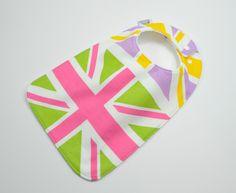 "Toddler Bib 10""x 17"", 1yr-3+ yrs,Union Jack Bib, British Bib, U.K. England, London, English Bib,  100% cotton by TextileTrolley on Etsy"
