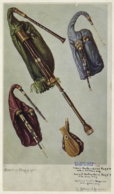 Modern Northumbrian bagpipe with a crimson bag; Ancient Northumbrian bagpipe with blue bag; Lowland Scotch bagpipe with green bag; The bellows of the modern Northumbrian bagpipe.  From Musical instruments : historic, rare and unique. Black, 1921) Hipkins, Alfred J. (Alfred James) (1826-1903), Author. Gibb, William , Illustrator.