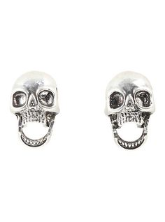 Blackheart Skull With Movable Mouth Stud EarringsBlackheart Skull With Movable Mouth Stud Earrings,