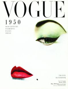 Erwin Blumeneld features Jean Batchett's quintessential red lip on this infamous 1950 cover of Vogue.