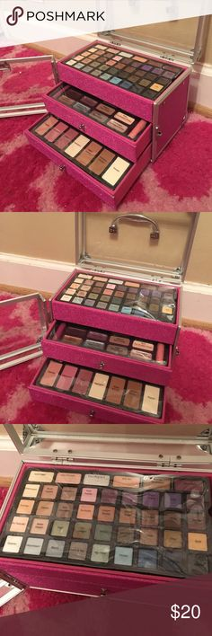 Ulta Make Up Box Ulta makeup kit; three compartments; eyeshadow, blush, highlighter, bronze, lipgloss, primer, concealer, cream liner, powder, brow powder and wax; the only thing used was the concealer (I took the top layer off) and the two eyeliner pencils are missing; if you have any questions, please let me know 😊; ⭐️I usually accept reasonable offers⭐️ Ulta Makeup Eyeshadow