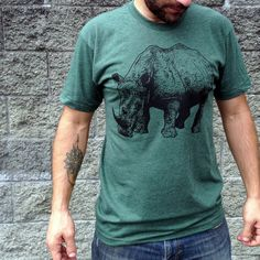 Mens Tshirt / Unisex tshirt  RHINOCEROS  by LocomotiveClothing