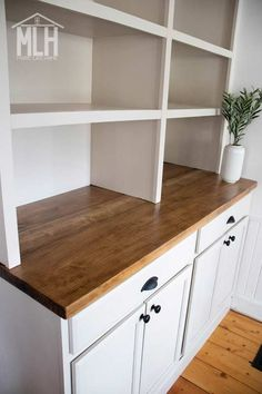 Stock Cabinets, Built In Cabinets, Upper Cabinets, Diy Cabinets, Custom Cabinets, Office Cabinets, Kitchen Buffet Cabinet, Dining Room Buffet, Kitchen Nook