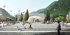 Image 49 of 50 from gallery of BIG Selected to Design San Pellegrino Factory and Headquarters in Northern Italy. Photograph by BIG San Pellegrino, Landscape Architecture, Architecture Design, Contemporary Architecture, Big Architects, Urban Design Concept, Win Competitions, Italy Images, Water Branding