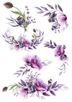 Watercolor Images, Watercolor Flowers, Watercolor Succulents, Flower Frame, Flower Art, Violet Tattoo, Tableaux D'inspiration, Muster Tattoos, Decoupage Printables