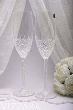 Wedding Glasses White Hand Painted Champagne Vintage Toasting Flutes