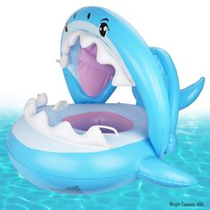 Yogaua Baby Pool Float Shark Swimming Float with Canopy Inflatable Floatis Swimming Ring for Young Boy//Girl Summer Beach Swim Toys