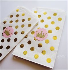 b7378d8c384f Reserved For Marci Pink & Gold, Princess Party Bag, Glitter Crown, Polka  Dots, Girls First Birthday, Baby Shower Favors Set Of 60