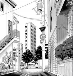 """Intro & Thumbnail """"How to draw manga styled urban backgrounds from scratch by Primula_ - CLIP STUDIO TIPS Cityscape Drawing, City Drawing, Manga Drawing, Manga Art, Background Drawing, City Background, Black And White Landscape, Black And White Aesthetic, Black And White Background"""
