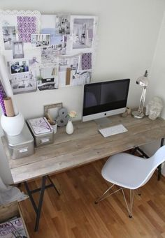 Desk tabletop made of wood. Could be floorboards or palletwood.