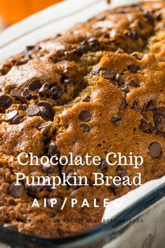 Try this dairy-free, grain free not taste free chocolate chip pumpkin bread. It truly is delicious and most of the ingrediants you will have on hand. Pumpkin Chocolate Recipe, Best Pumpkin Bread Recipe, Paleo Pumpkin Bread, Paleo Chocolate Chips, Chocolate Chip Muffins, Gluten Free Pumpkin, Pumpkin Recipes, Pumpkin Delight, Easy Banana Bread