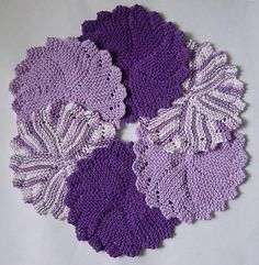 I found this gorgeous set of hand-knit purple dish cloths on eBay.