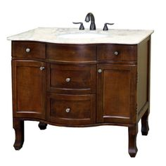 Bellaterra Home�Medium Walnut Undermount Single Sink Bathroom Vanity with Natural Marble Top (Common: 38-in x 23-in; Actual: 38.2-in x 23.6-in)