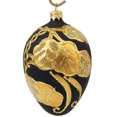 Vánoční ozdoba * černé sklo zdobené zlatými listy.