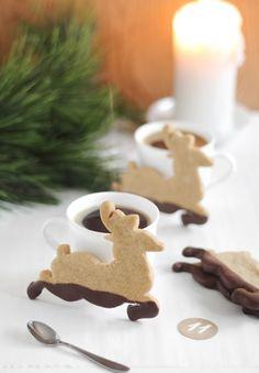 Muddy Reindeer Cookies (Chocolate-Dipped Gingerbread)