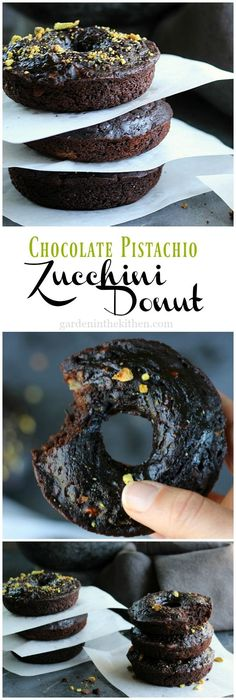 Fear Donuts no more! This #Vegan and #Gluten-free Chocolate Pistachio Zucchini Donut is super HEALTHY, delicious, rich and moist. Go for two! http://gardeninthekitchen.com