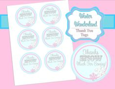 WINTER ONEDERLAND - Thank You Tags - Snowflake Birthday Party - Wonderland - Girls Pink - Christmas - Girl - Printables - INSTANT Download on Etsy, $2.25 CAD
