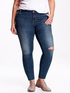 Women's Plus High-Rise Distressed Rockstar Jeans