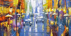 """Night avenue - Oil Painting On Canvas By Dmitry Spiros. Size: 24""""x32"""" (60x80cm)  #Impressionism"""
