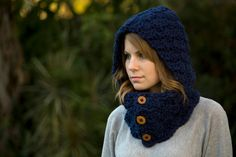 Navy Hooded Cowl Crochet Cowl Dark Blue Scoodie by WellRavelled (LOVE THIS!!!)