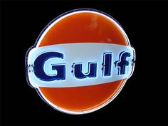 Gulf Oil single-sided porcelain neon service station sign c.1970s