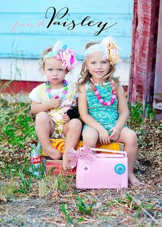 Coral and Aqua Love headband flower feather..cute sister picture.