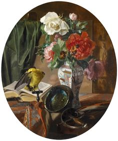 Ennemond Collignon (1822-1890) — Still Life with Flowers in a Chinese Vase, Bird and ornamental articles,1852  (851×1023)