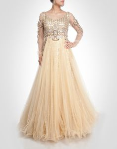 Gold tone net cocktail gown with rhinestone and sequin. Shop Now: www.kimaya.in