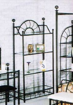 Sunburst Wrought Iron Style Glass Bakers Rack Etagere