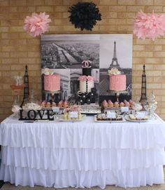 LOVE this for a bridal shower!  Photos in the back, and the table decor are great accents: