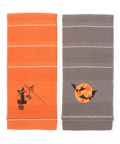 Take a look at this Haunted House Spooky Embroidered Dish Towel Set by Design Imports on #zulily today!