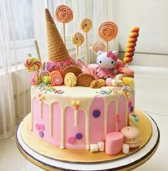 Baby Girl Birthday Cake Ideas Hello Kitty 17 New Ideas - Torten - kuchen kindergeburtstag Little Girl Birthday Cakes, Hello Kitty Birthday Cake, Baby Girl Cakes, Cake Birthday, Little Girl Cakes, Birthday Ideas, Pink Birthday, Mermaid Birthday, 21st Birthday