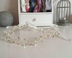 Headband ruban organza cristaux blanc