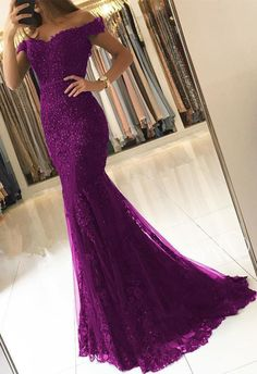 custom drsses Off Shoulder Lace V-neck Mermaid Prom Dresses Purple Formal Evening Gowns ML13172 by moonlight, $161.44 USD