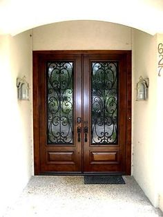 44 Ideas For Wrought Iron Front Door With Sidelights House 44 Ideas For Wrought Iron Front Door With Sidelights House The post 44 Ideas For Wrought Iron Front Door With Sidelights House appeared first on Farah& Secret World. Double Front Entry Doors, Entry Door With Sidelights, Iron Front Door, Double Doors Exterior, Wood Exterior Door, Wood Front Doors, House Front Door, Glass Front Door, House Doors