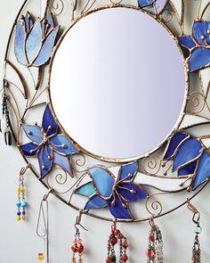 Modern hexagonal glass box Geometric stained glass box Vanity