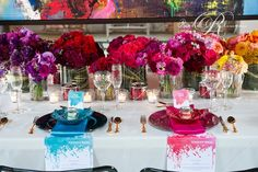 ombre centrepieces at Thompson Landry Art Gallery by Rachel A. Clingen  @Laura Kelly Wedding Design