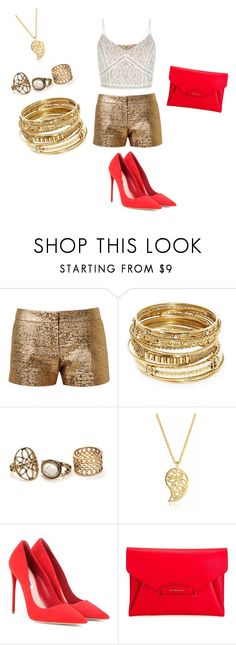 """""""Goldness With A Pop of Redd"""" by desakabeauty on Polyvore featuring Lanvin, ABS by Allen Schwartz, Sonal Bhaskaran, Miu Miu and Givenchy"""